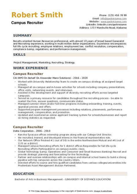 sample resume for campus recruiter campus recruiter resume sample best format o resumebaking