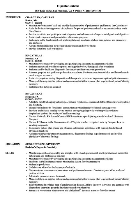 sample resume for cardiac cath lab nurse resume format pdf for