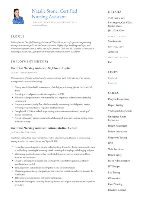 Sample Resume Format For Experienced Person Certified Nursing Assistant Resume Sample