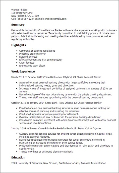 Sample Resume With Banking Experience Chase Personal Banker Resume Sample Banker Resumes