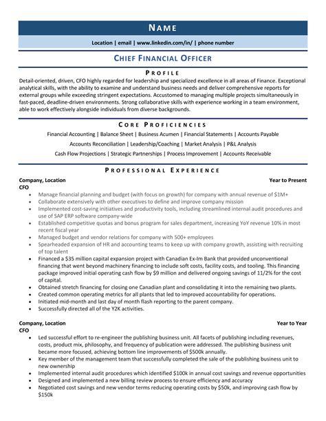 Sample Resume Bank Officer Chief Financial Officer Resume Sample Livecareer
