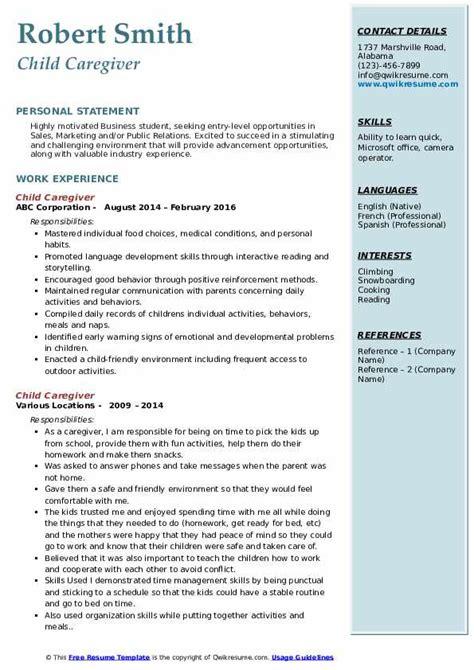 sample resume for child caregivers child caregiver resume sample best format resumebaking - Sample Caregiver Resume