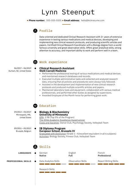 Sample Resume Nursing Assistant Entry Level Clinical Research Assistant Resume Samples Jobhero