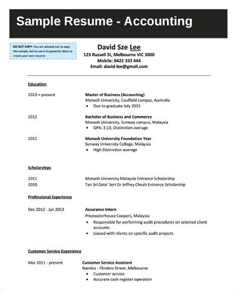 Sample Resume For Fresh Graduate Business College Graduate Accounting Resume Sample