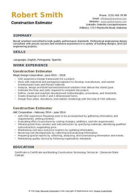Sample Resume For Construction Estimator | Functional Resume Samples Pdf