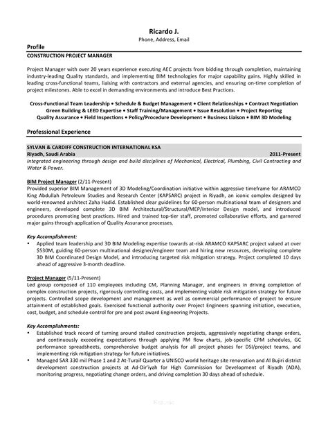 Sample Resume Of Construction Project Coordinator Construction Project Coordinator Resume Samples Jobhero