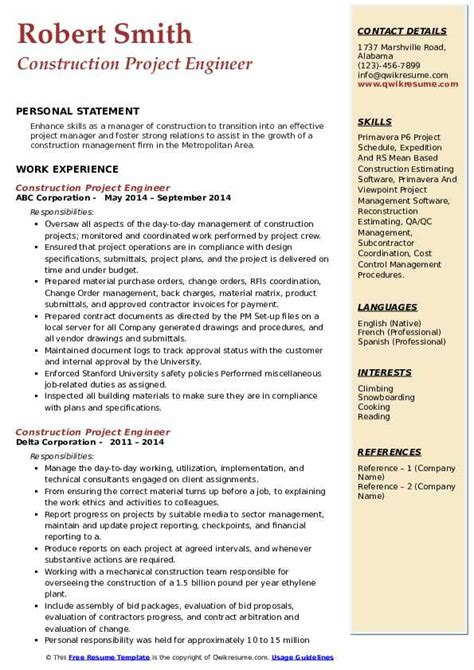 sample resume construction project engineer construction project engineer resume example civil construction - Civil Construction Engineer Sample Resume