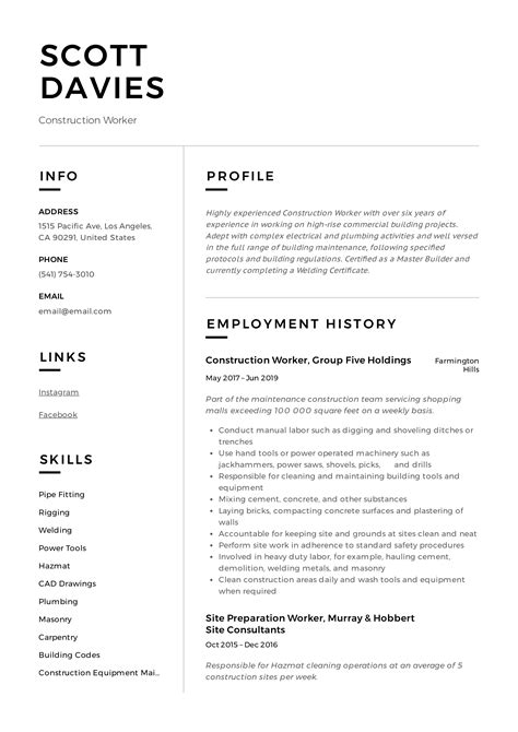 sample resume construction worker construction site supervisor