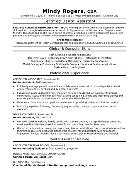 sample resume for dental assistant position dental assistant resume example