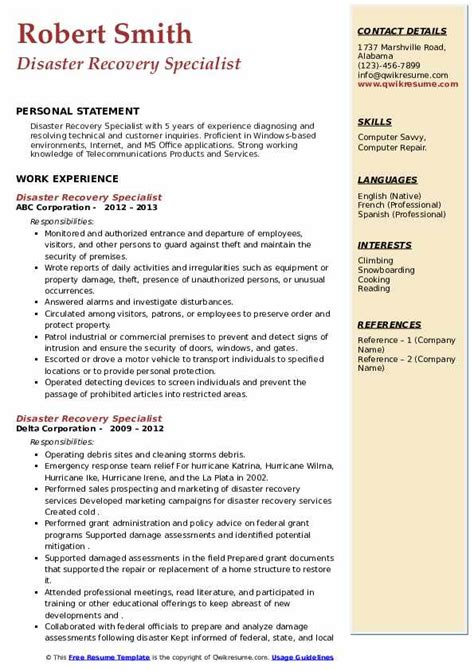 Sample Resume Disaster Management Disaster Recovery Specialist Resume Samples Jobhero
