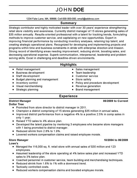 sample resume for district sales manager district manager resume cv examples sample template - District Manager Resume Sample