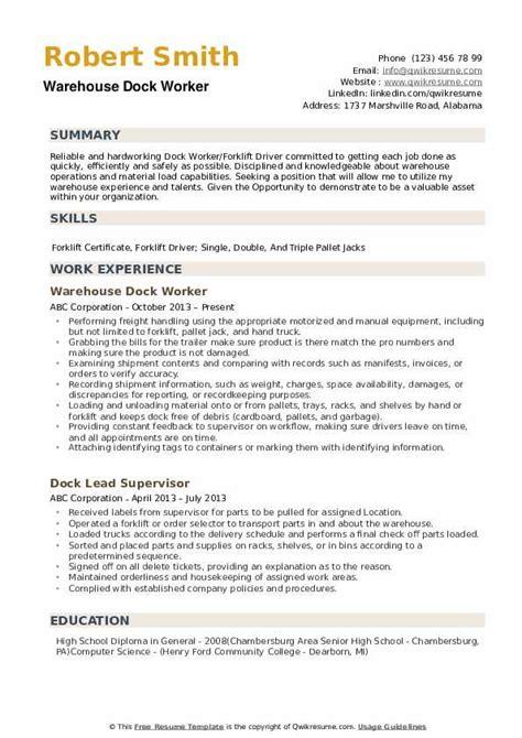 Dock Worker Sample Resume] Professional Fedex Dock Worker Templates ...