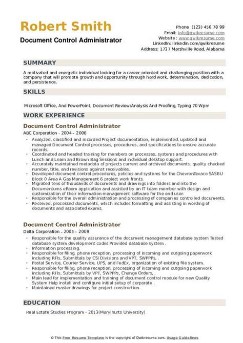 sample document controller resume quality control inspector