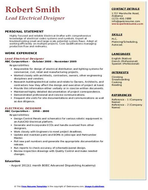 Sample Resume For Electrical Designer Example Best