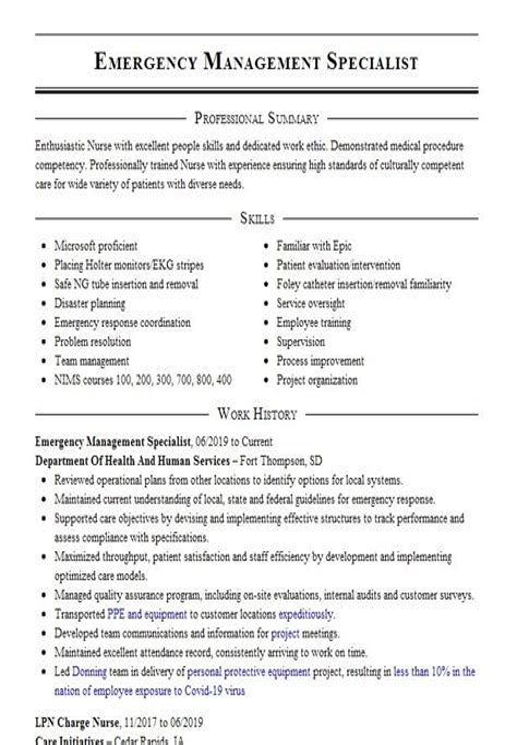 Sample Resume Disaster Management Emergency Management Specialist Resume Sample Resume4dummies