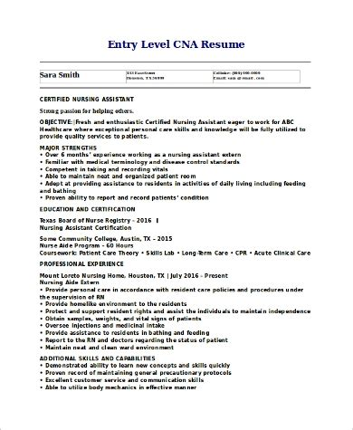sample resume for cna with no experience entry level cna resume samples no experience
