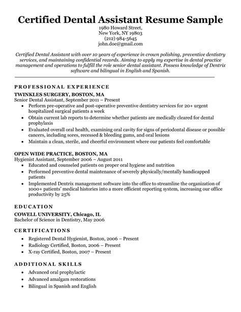 sample resume for entry level dental assistant entry level dental assistant resume sample