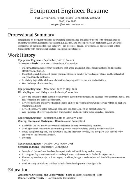 sample resume rotating equipment engineer equipment engineer resume example best sample resume - Equipment Engineer Sample Resume