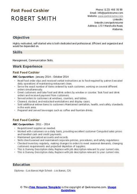 sample resume cashier fast food restaurant fast food cashier job description example job - Fast Food Cashier Resume