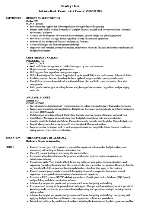 analyst resume sample best format budget - Budget Analyst Sample Resume