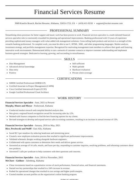 sample resume for financial service representative