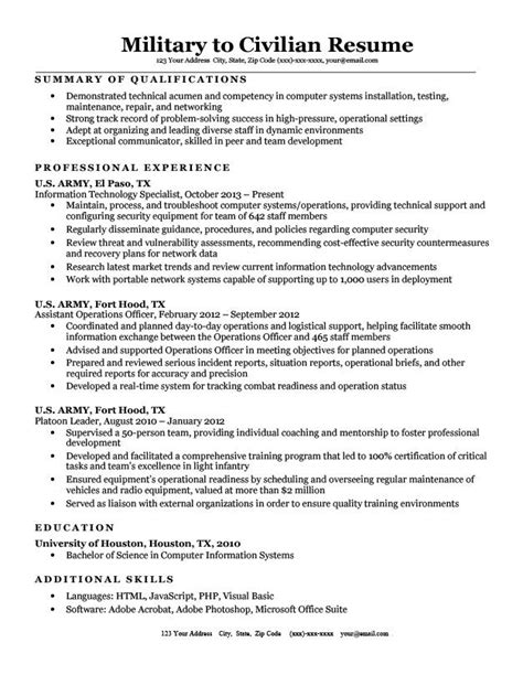 resume examples transitioning military sample resume for a military to civilian transition