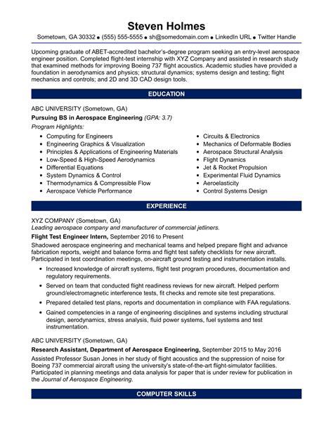 resume for boeing internship sample resume for an entry level aerospace engineer - Boeing Aerospace Engineer Sample Resume