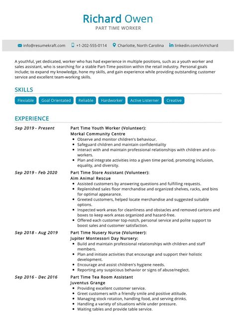 good resume objectives for part time jobs sample resume for part time job - Resume Objective For Part Time Job
