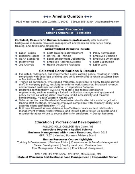 Resume Sample Resume Human Resources Supervisor sample resume human resources supervisor builder mobile free example
