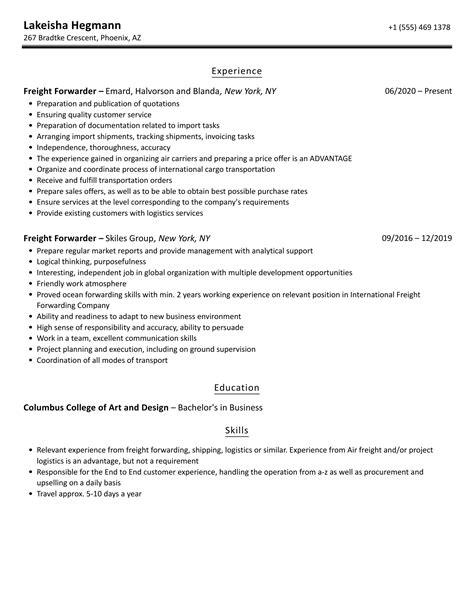 sample resume sales executive freight forwarding vascular nurse
