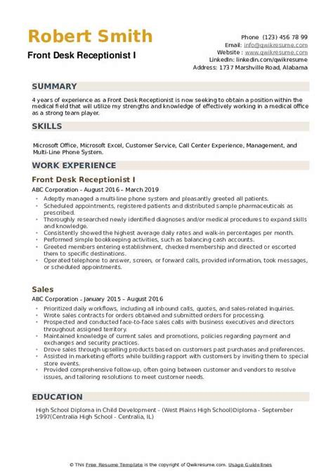medical receptionist resume sample doctor receptionist resume resume examples medical receptionist objective sales template