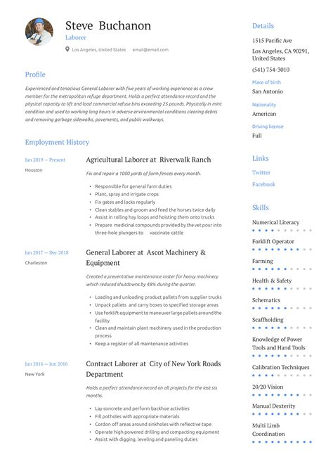 Sample Resume General Labor General Labor Resume Sample Three Service Resume