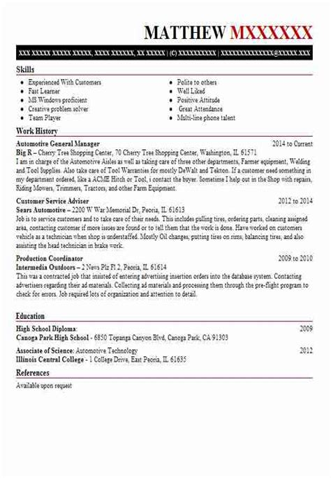 Sample Resume For General Sales Manager General Manager Automotive Resume Sample Reverse