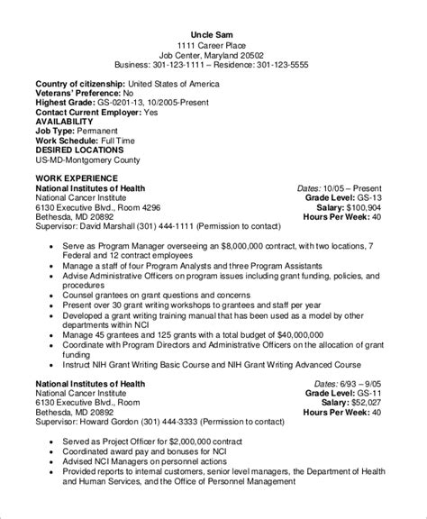 sample resume objective government job government resume samples govtjobs