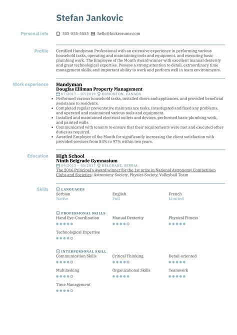 sample resume handyman job handyman caretaker resume sample caretaker resumes - Handyman Resume