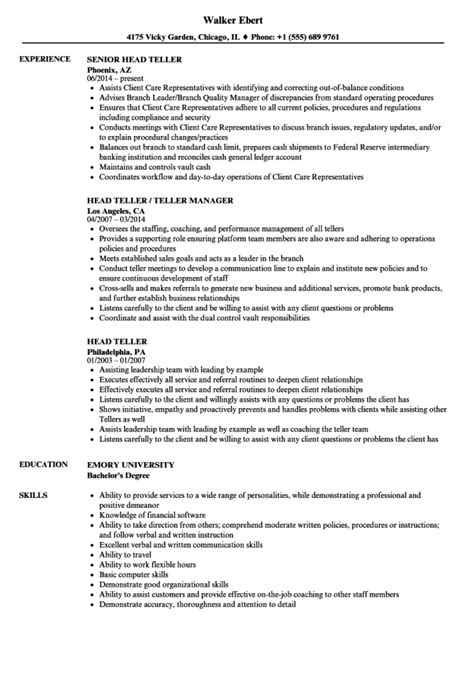 sample resume for bank head teller head teller sample resume example ezrezume