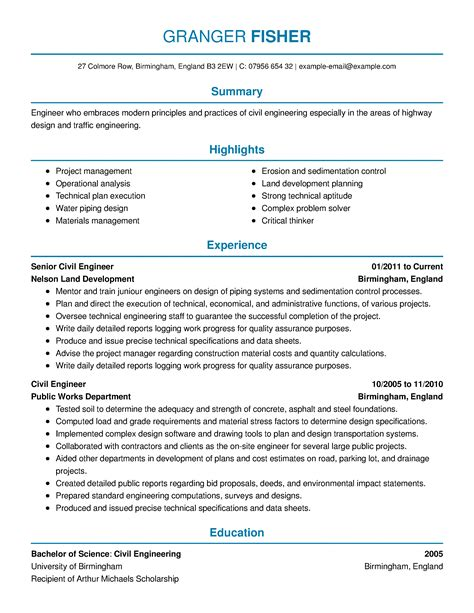 sample resume for bridge engineer highway engineer resume example best sample resume - Bridge Engineer Sample Resume