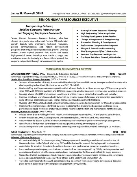 Sample Resume Director Human Resources Executive Directorvp Resume Sample