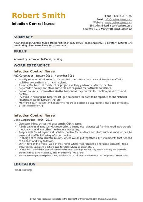 sample resume infection control nurse motivation definition with