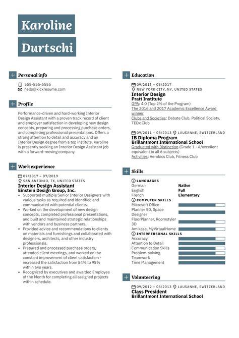 Interior Design Sample Resume Resumecareerinfointerior