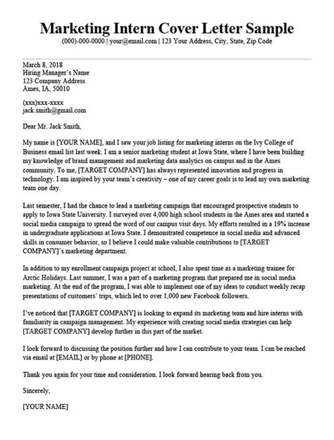 Sample Resume And Cover Letter For Internship Internship Cover Letter Sample Resume Genius
