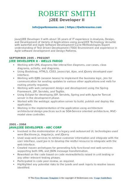 sample resume of java j2ee developer j2ee developer resume sample - Sample Java Developer Resume