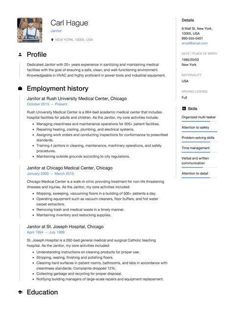 Sample Resume Objective Housekeeper Janitor Resume Sample Job Interview Career Guide