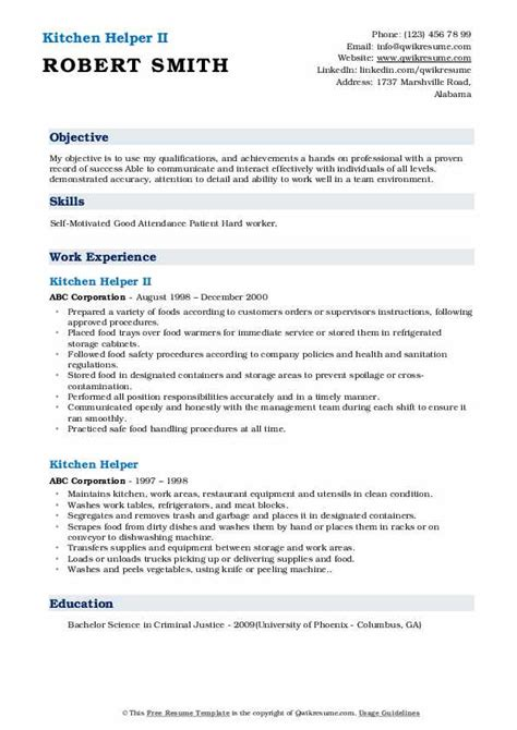 sample resume for kitchen staff resume template for paralegal