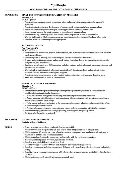 Sample Resume Assistant Kitchen Manager Kitchen Manager Resume Sample