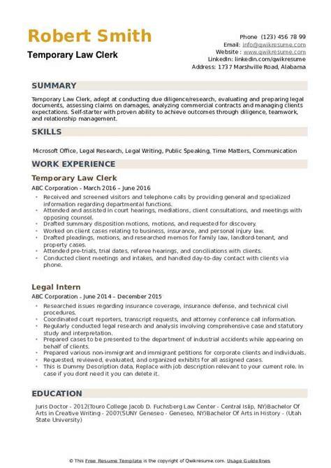 Sample Resume Court Clerk Legal Clerk Resume Sample