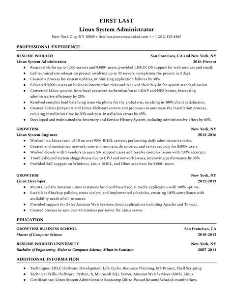 sample resume for unix system administrator linux administrator resume sample - Unix Administration Sample Resume