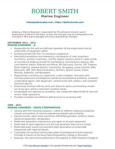 sample resume for marine engineering cadet internship - Marine Engineer Sample Resume