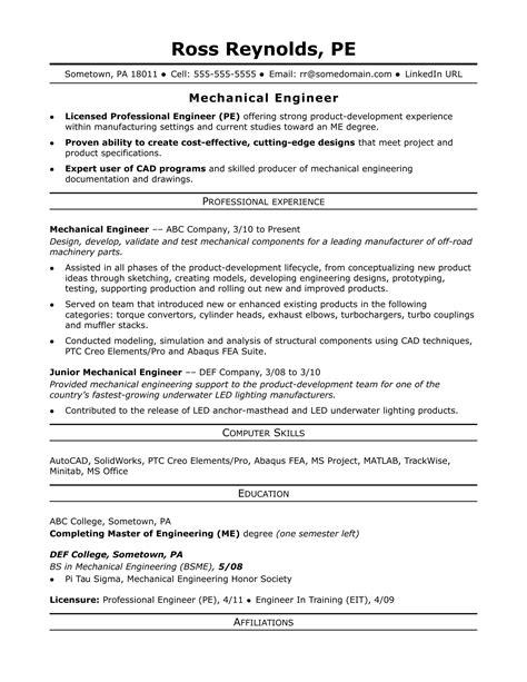 Sample Resume For Be Mechanical Engineering Mechanical Engineer Sample Resume