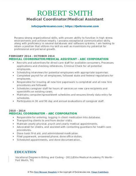 insurance coordinator resume